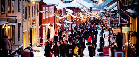 Christmas shopping Roros Trondelag Norway