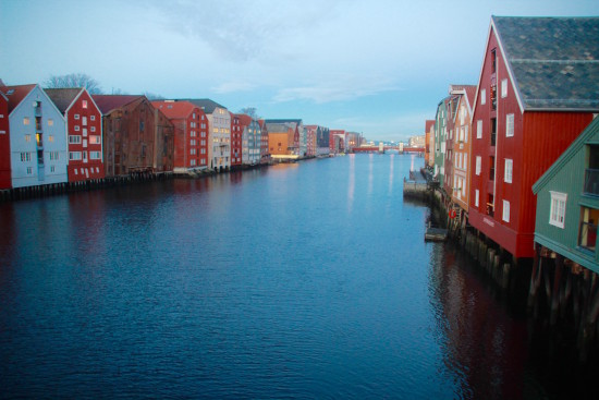 Trondheim colourful wooden houses view bridge